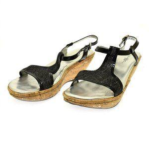 Born Crown Floris Black Patent Leather Women's Sandals 40.5 US 9 Cork Heel